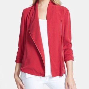 Trouve Red Silky Moto Asymmetrical Zipper Jacket